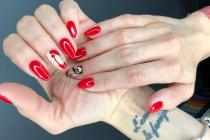 Красный гель-лак с рисунком
