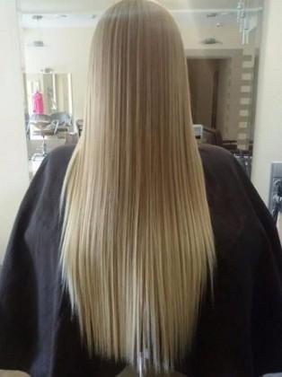 Фото волос после выпрямления кератином
